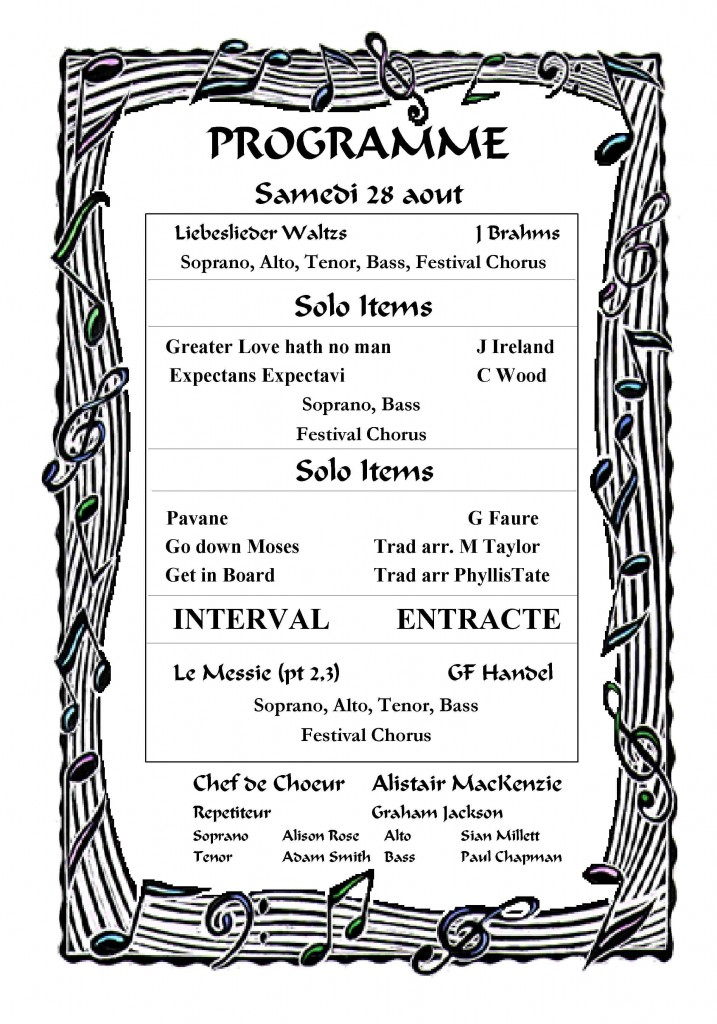 Programme for Saturday Concert